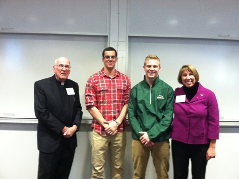 Rev. George V. Coyne, S.J., Alex Constantino '14, Patrick Curtin '15, and Dr. Martha Grabowski at Schloarship Presentation Day.