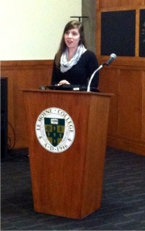 Katherine O'Neill '14 prepares for Scholars Day.