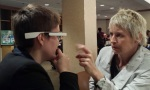 Michaella Steinruck '16 and Cynthia Turner, Associate Professor of Music and Director of the Wind Ensemble at Cornell University, experiment with Google Glass.