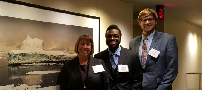 Dr. Martha Grabowski, Jonathan Martial '17 and Steven Middleton '16 at the National Academy of Sciences' Transportation Research Board/Marine Board in Washington, DC.